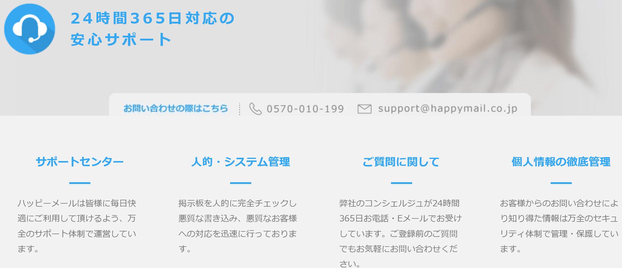 ハッピーメールの安心サポート