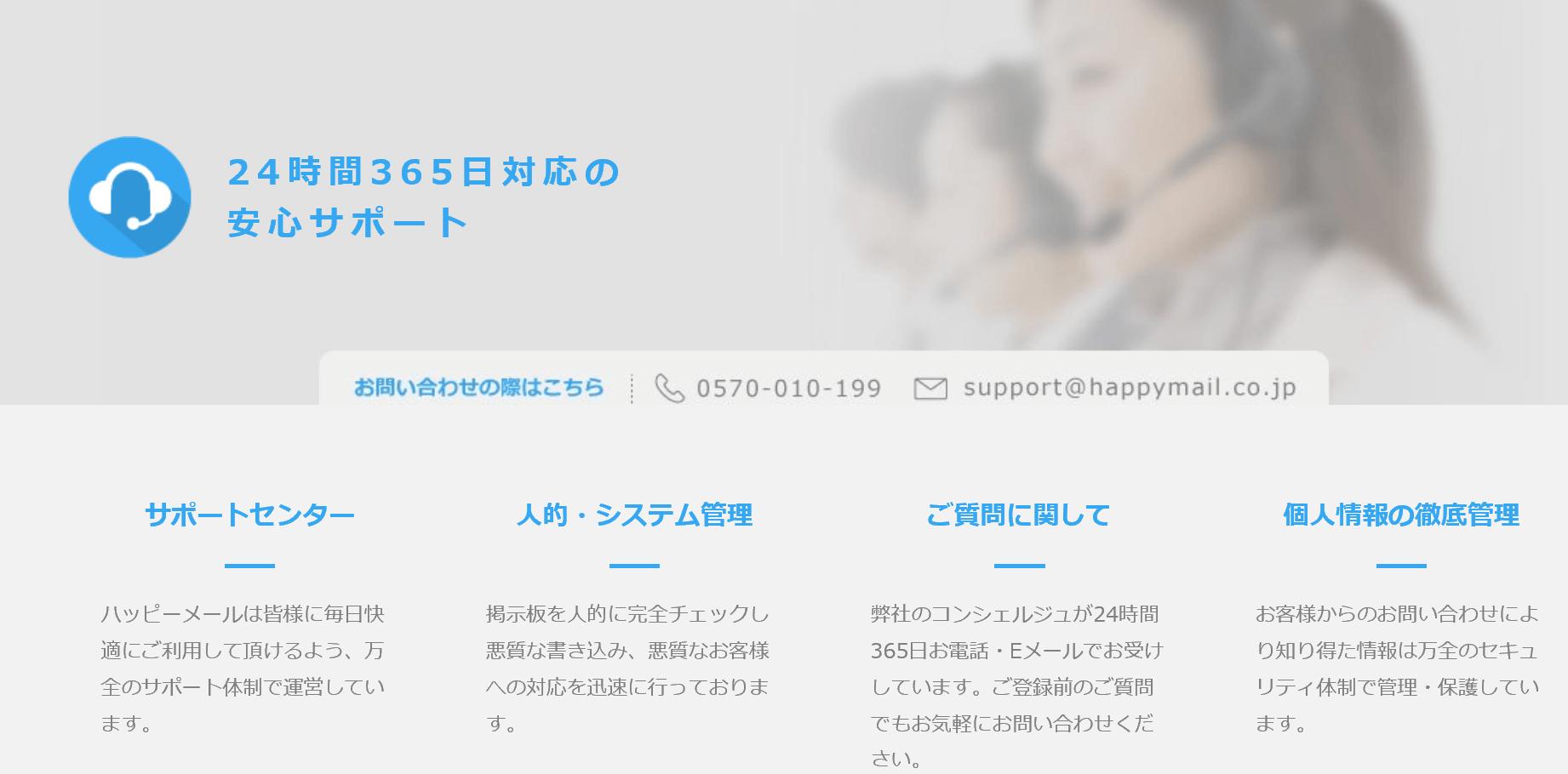 ハッピーメールの24時間365日の安心サポート
